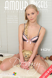 Blonde teenage cutie strips off her sexy lingerie to get her sweet naked body wet on movies.