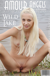 Admirable slim blonde takes off her dress and exposes her tits and pussy on the river bank.