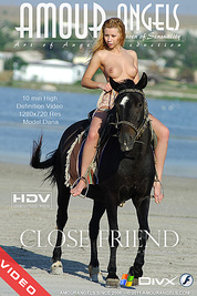 Charming busty teen equestrienne rides a sightly black horse in the nude in online video.