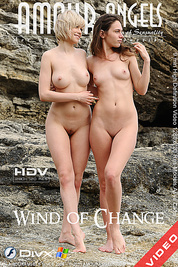 Two lovely teen babes lounging naked on the rocks to show their asses and pussies on hdv.