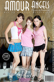 Three gorgeous teen girlfriends partying together and playfully stripping nude to tease you.