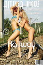 Horny blond and splendid brunette wonder through railroad fully nude and entertain each other.