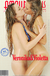 Fascinating blondes seem to be real angels as they are taking shower and pet their elastic bodies.