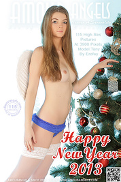 Superior long haired teen angel showing off her inviting shaved quim near New Year tree.
