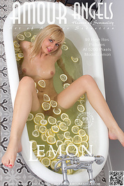 This amazing teen blonde gets naked for her hot bath with lemons to clean her irresistible shapely body for the set.