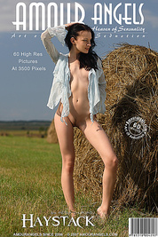 Amazing wonderful nude angel is standing near haycock in the green field all alone and poses like a real professional coquette.