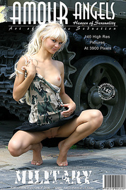 Gorgeous cheeky angel is wearing military clothes and poses near grenade launcher, tank and different army airplanes.