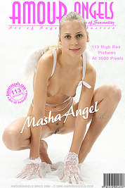 Naked blonde having fun imagining herself as a real angel sitting on clouds