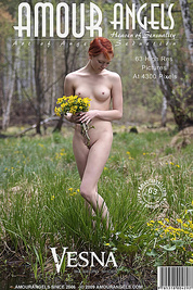 Beautiful flowers in the forest lure nude beauty teen as she starts pick them in fit of passion.