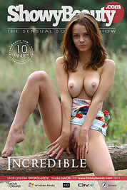 Online film of delicious girl taking off dress and showing great nude figure on the nature.